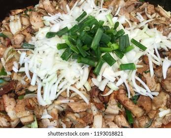 The closeup of Taiwan aborigines cuisine, Salt pork.