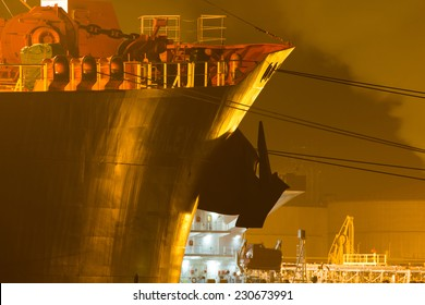 Close-up of a tanker in a harbor