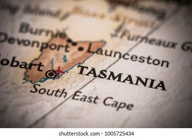 Closeup of Tasmania on a world map.