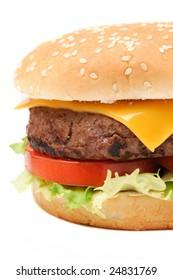 Closeup of a tasty hamburger isolated on white background