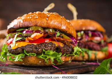 Close-up of tasty home made burgers.