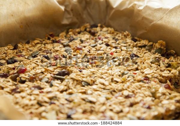 Closeup of a tasty homemade pile of muesli
