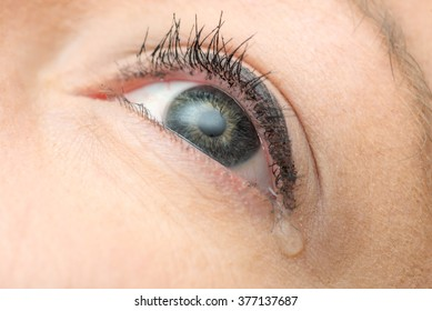 Close-up tear on young woman's eye
