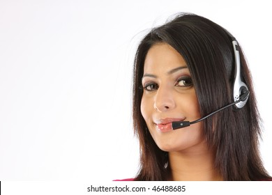 Closeup of Teenage girl with the microphone