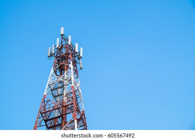 Closeup telephone tower with blue sky background