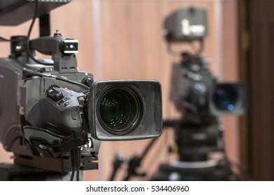 Close-up television digital camera in focus
