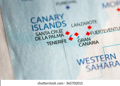Closeup of Tenerife, Canary Islands on a political map of Africa.
