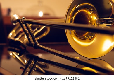 closeup of tenor trombone on the table