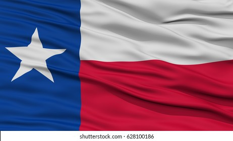 Closeup Texas Flag on Flagpole, USA state, Waving in the Wind, High Resolution