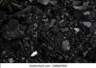 Close-up and texture of black charcoal in a forest