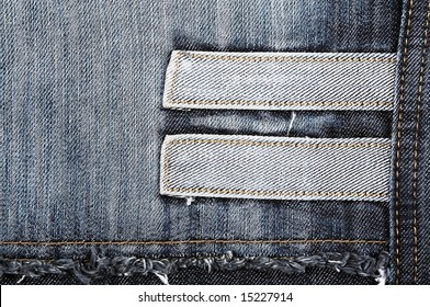 Closeup of the texture of the blue jeans