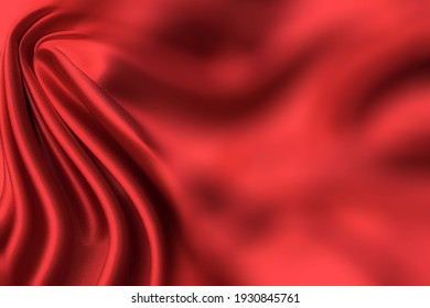 Close-up texture of natural red or orange fabric or cloth in same color. Fabric texture of natural cotton, silk or wool, or linen textile material. Red and orange canvas background.