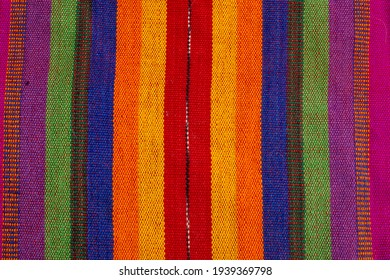 Closeup texture and pattern of colorful Maya tribe from Guatemala textile