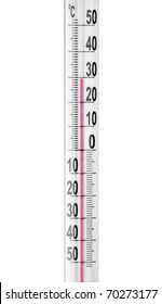 Close-up of a thermometer. Isolated on white
