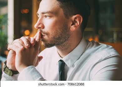 Closeup of Thoughtful Attractive Business Man