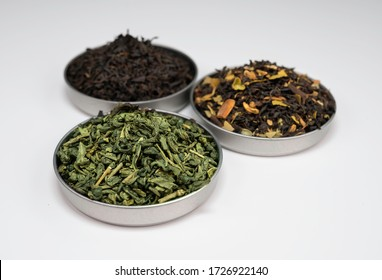 Close-up of three tea sample