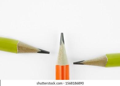 closeup three yellow pencils on white background. - Shutterstock ID 1568186890