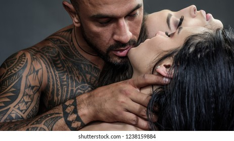 Closeup threesome mouths kissing. Sensual threesome kiss. Intimate relationship and sexual relations. Passion and sensual Tongue. Couple In Love. Romantic and love