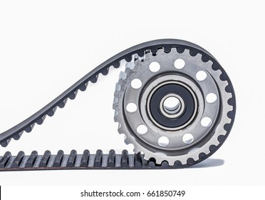 Closeup timing belt with pulley belt on white background.