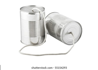 Closeup of tin cans telephone connected by string on white background, business communication concept