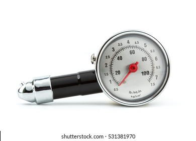 closeup Tire Pressure Gauge isolated on white background