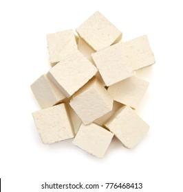 Closeup tofu isolated on white background