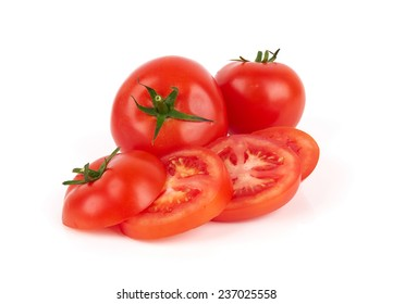 Closeup of tomatoes isolated on the white background