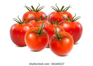 Closeup of tomatoes on isolated on white