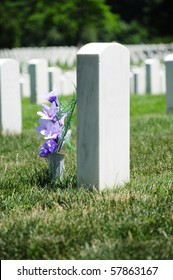Closeup of tombstone with purple flowers at Arlington National Cemetery