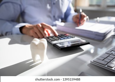 Close-up Of Tooth In Front Of Businessperson Calculating Bill