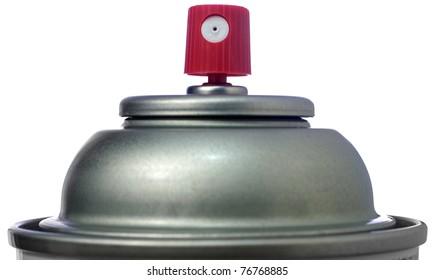 Closeup of the top of an Aerosol Spray Can