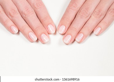 Closeup top view of elegant pastel pink natural manicure. Female hands isolated on white background. Horizontal color photography.