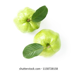 Closeup top view fresh guava fruit isolated on white background, healthy concept