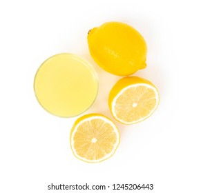Closeup top view glass of lemon juice drink isolated on white background, food heathy concept