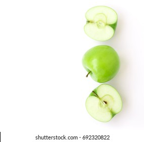 Closeup top view green apple on white background, fruit healthy concept