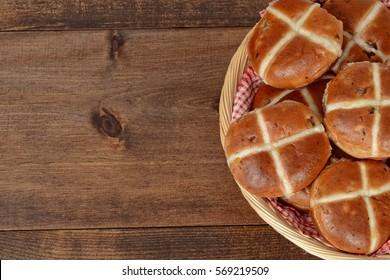 closeup top view hot cross buns