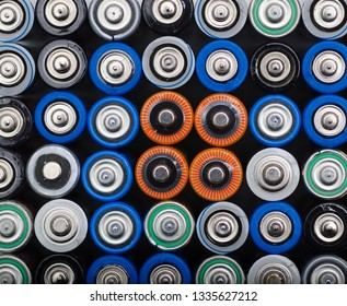 Closeup top view on rows of selection  old batteries aa size