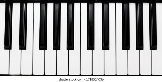 close-up Top view of realistic shaded monochrome piano keyboard. the music room for pianist to rehearse before the classical piano performance in celebration of the great success.