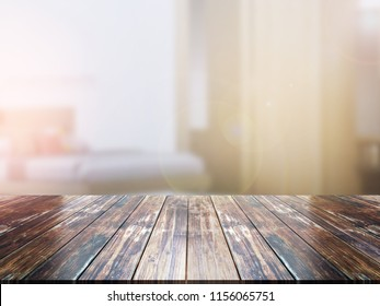 closeup top wood table with Blur Background
