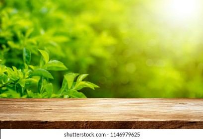 closeup top wood table with nature green blur background, for your photo montage or product display, Space for placing items on the table.