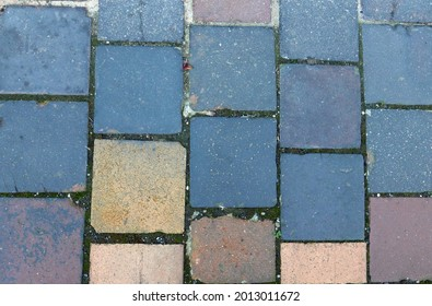 close-up top-down view of block paving