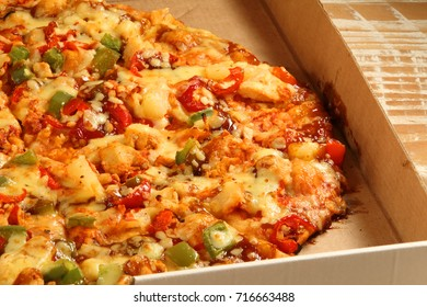 Closeup of the toppings on a pizza.
