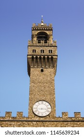 Close-up of tower of Palazzo Vecchio, old town hall of Firenze, Toscana, Italy