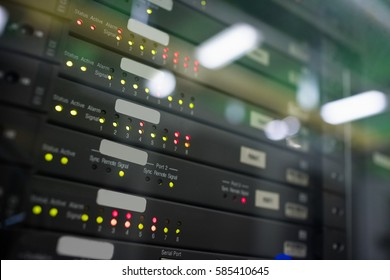 Close-up of towers in server room
