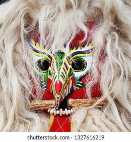 Closeup of the traditional Kurent mask, Slovenia