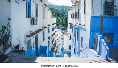 Close-up of a traditional moroccan architectural street in Chefchaouen, Morocco, Africa