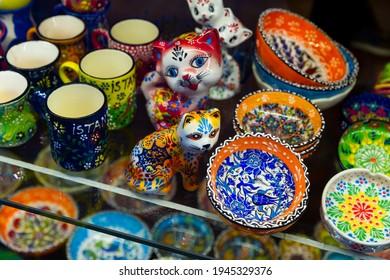 Closeup of traditional Turkish ceramics for sale in souvenir shop in Grand Bazaar, Istanbul, Turkey