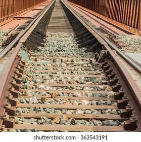 close-up of the Train Tracks
