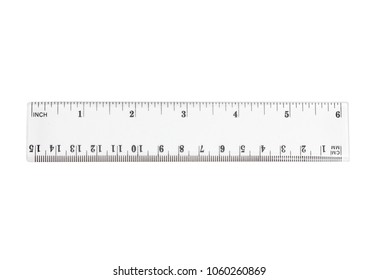 closeup transparent ruler on white background