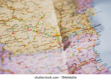 closeup of a travelers road map in vintage retro colors countries and cities of eastern